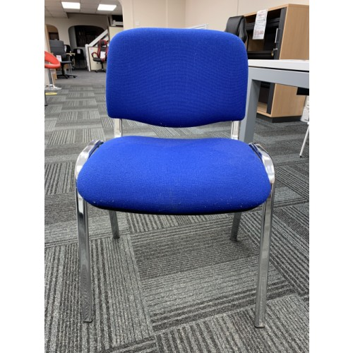 Reception/Visitor Chair, Blue Fabric/Chrome Frame. 15 In Stock