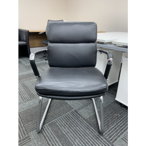 Reception/Visitor Chair, Chrome Frame & Black Faux Leather. 12 In Stock
