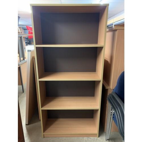 Bookcase, In Oak Finish. 1660mm High x 770mm Width x 300mm Depth. 2 In Stock