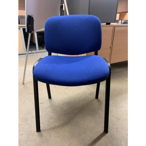 Reception/Visitor Chair, Blue Fabric/Black Frame. 3 In Stock
