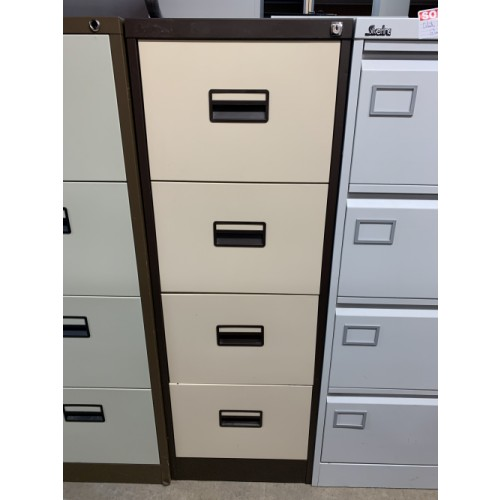 Filing Cabinet, 4 Drawer. In Coffee/Cream Finish. 2 In Stock