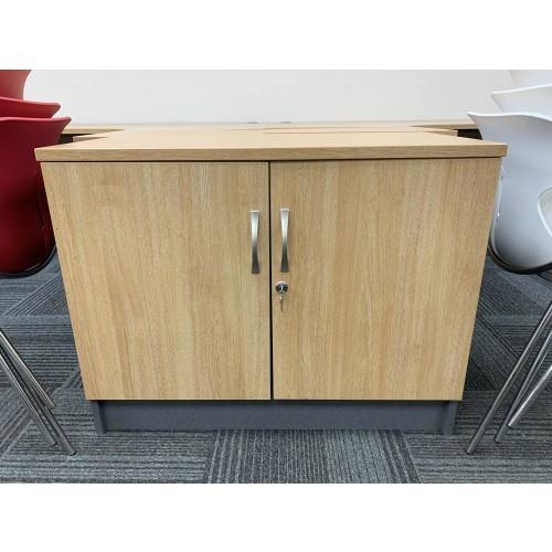 Double Door Cupboard, In Limed Oak Finish - 925mm Width x 525mm Depth. 1 In Stock