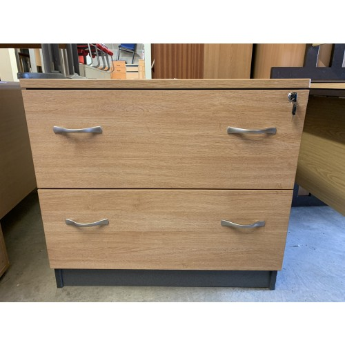 Side Filer (2 Drawer), In Limed Oak Finish - 800mm Width x 600mm Depth. 1 In Stock