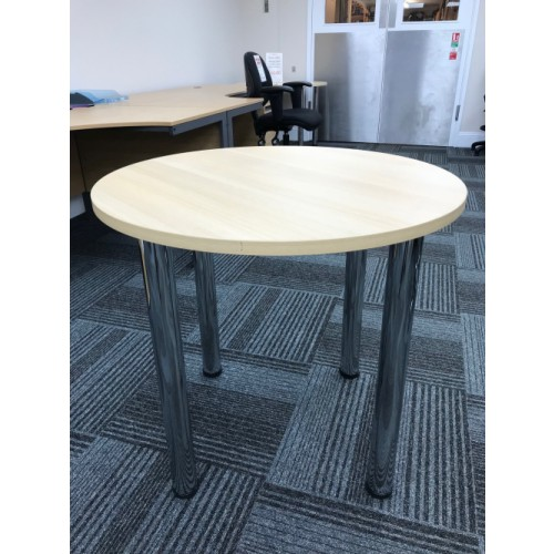 Meeting Table, 800mm Diameter. With NEW 60mm Chrome Legs. Finished In Light Oak. 1 Left In Stock.