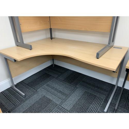 Crescent Desk, Left-Hand, In Light Beech Finish. 1600mm Width x 1200mm Depth. 1 In Stock