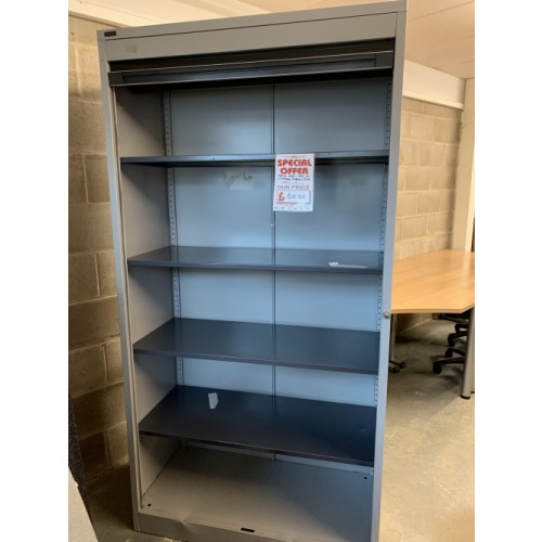 Tambour Cupboard, With 4 Shelves - 1950mm High x 1000mm Width. 1 In Stock