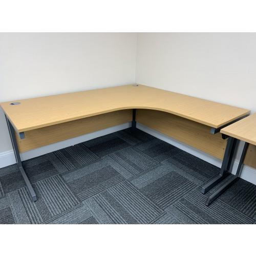 Crescent Desk, In Oak Finish - 1800mm Width x 1600mm Depth. 1 In Stock