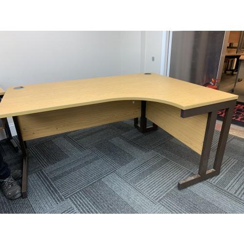 Crescent Desk, In Oak Finish. 1600mm Width x 1200mm Depth. 1 Left-Hand In Stock