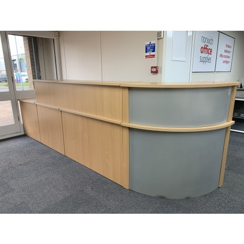 Reception Unit, With Counter Tops, In Beech Finish - Overall Width 3600mm x 800mm Depth. 1 In Stock