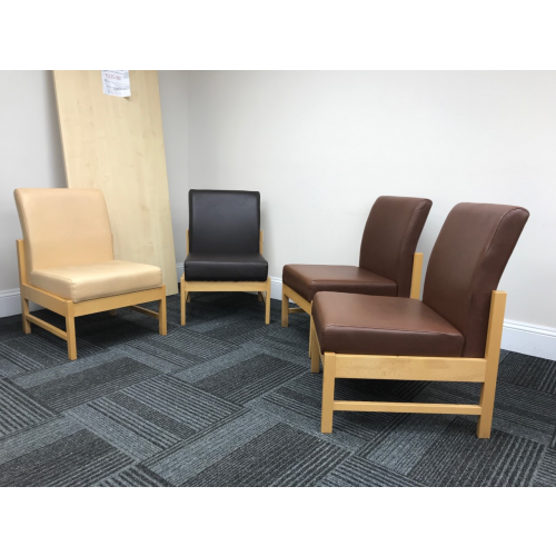 Reception/Visitor Chair. 7 Of Each Colour Available; Beige, Light Brown & Dark Brown.