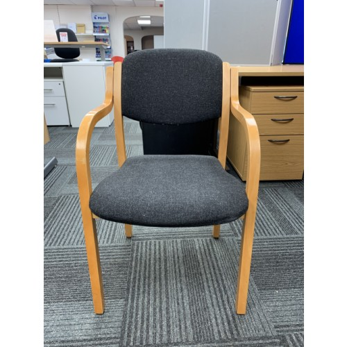 Reception/Visitor Chair, Wooden Frame & Charcoal Fabric. 3 In Stock