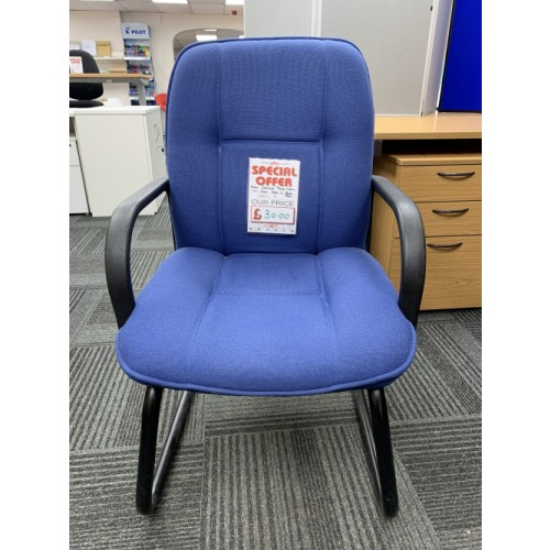 Reception/Visitor Chair, With Cantilever Frame & Blue Fabric. 9 In Stock