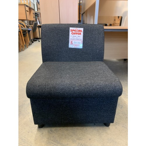 Reception/Visitor Soft Seating, Charcoal Fabric. 2 In Stock