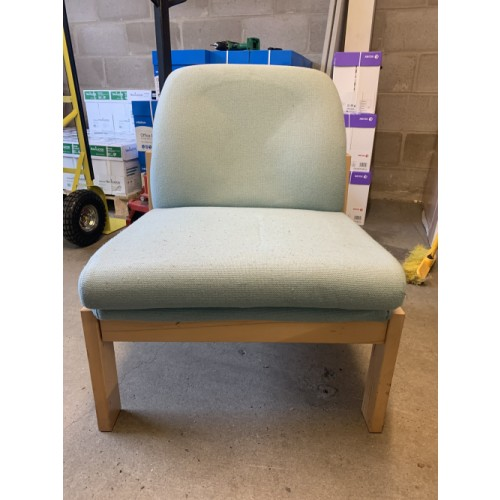 Reception/Visitor Chair, Wooden Frame/Light Green Fabric. 5 In Stock