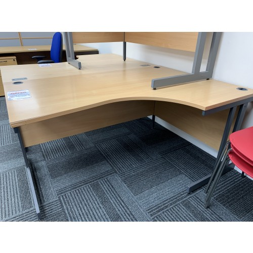 Crescent Desk, Right-Hand, In Beech Finish - 1600mm Width x 1200mm Depth. 1 In Stock