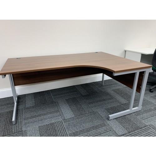 Crescent Desk, Right-Hand, In Walnut Finish - 1800mm Width x 1200mm Depth - 1 In Stock