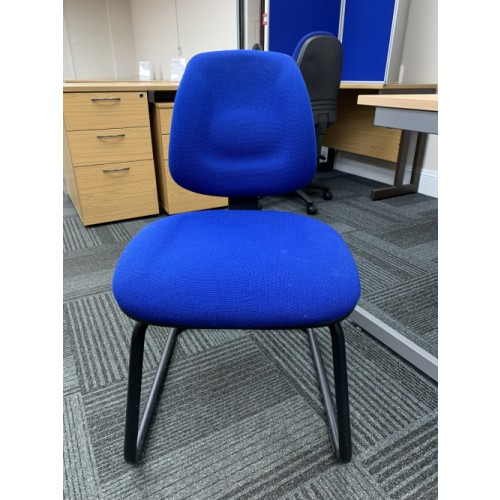Reception/Visitor Chair, In Blue Fabric & Cantilever Frame. 5 In Stock