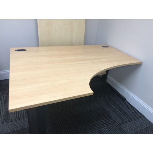 Crescent Desk, Left-Hand, Finished In Beech. 1600mm Width x 1200mm Depth. 1 In Stock