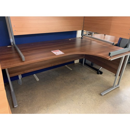 Crescent Desk, Finished In Walnut. 1800mm Width x 1200mm Depth. 1 In Stock