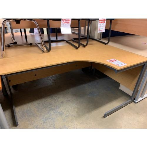 Crescent Desk, Finished In Bura Oak. 1600mm Width x 1200mm Depth. 1 In Stock
