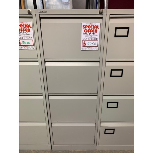 Filing Cabinet, 4 Drawer. In Grey. 3 In Stock