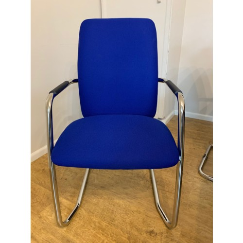 NEW - Reception/Visitor Chair, With Chrome Cantilever Frame, In Xtreme Ocean Blue. 2 In Stock (NEW - Cancelled Order)
