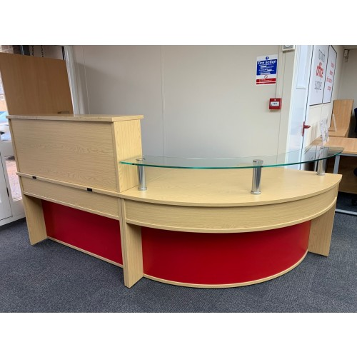 Reception Unit, With Counter Top, Finished In Oak. 2400mm Width x 1200mm Depth. 1 In Stock