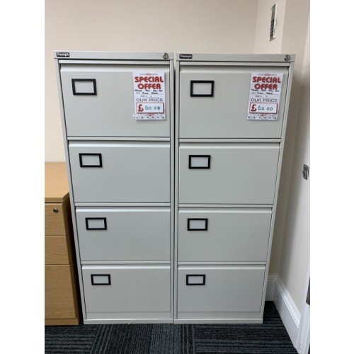 Filing Cabinet, 4 Drawer. In Grey. 4 In Stock