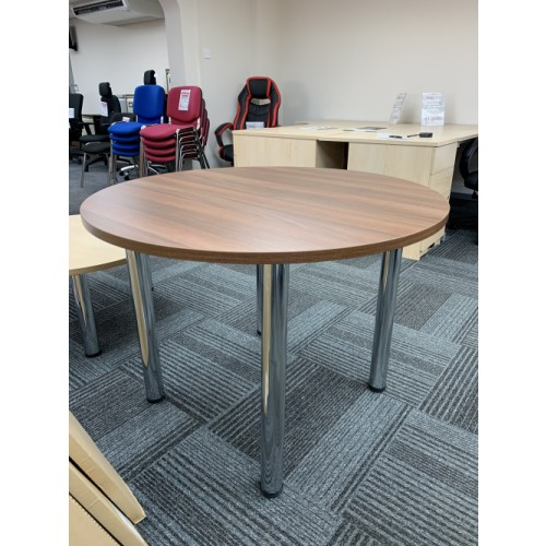 NEW - Meeting Table, 1000mm Diameter, Finished In Walnut & Chrome Tubular Legs. 1 In Stock (NEW - Cancelled Order)