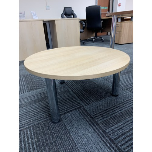 Coffee Table, 800mm Diameter, Finished In Tek Oak. 1 In Stock