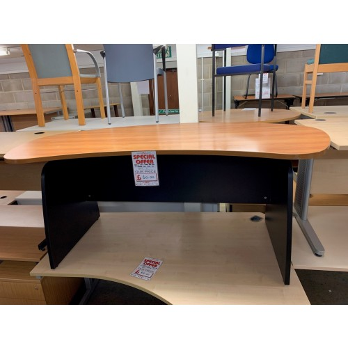 Bow-Fronted Desk, Finished In Cherry. 1800mm Width x 1000mm Depth. 1 In Stock
