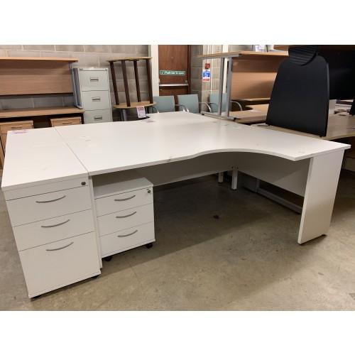 Crescent Desk & Mobile/Desk High Pedestal, Finished In White. 1800mm Width x 1200mm Depth. 1 Left-Hand In Stock.