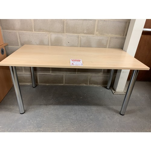 Meeting Table, Finished In Maple & Chrome Legs. 1500mm Width x 750mm Depth. 1 In Stock