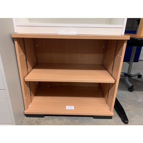 Open Fronted Storage Unit, 800mm Width x 500mm Depth, Finished In Beech. 1 In Stock