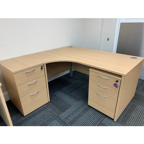 NEW - Crescent Desk & Two Pedestals, 1600mm Width x 1175mm Depth. In Verada Oak Finish. 1 In Stock (NEW - EX DISPLAY MODEL)
