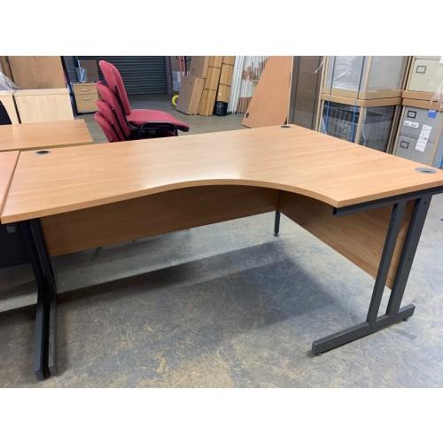 Crescent Desk, In Limed Oak Finish. 1600mm Width x 1130mm Depth. 1 In Stock