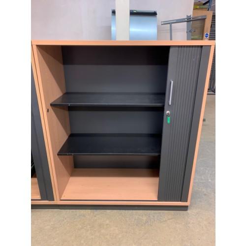 Tambour Cupboard, In Oak Finish - 1220mm High x 1000mm Width x 440mm Depth. 3 In Stock