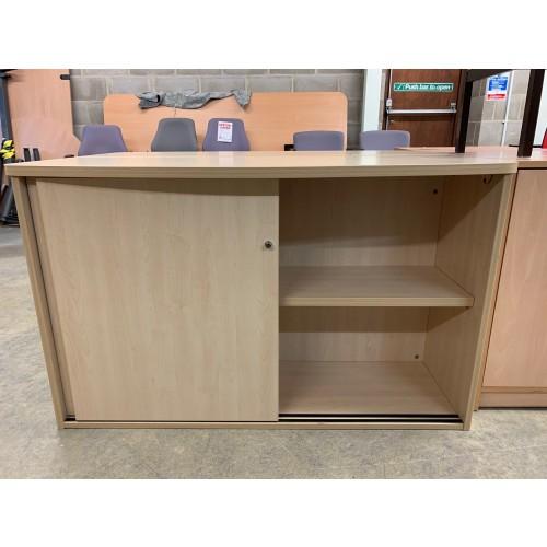 Sliding Door Cupboard, In Maple Finish - 1200mm Width x 450mm Depth x 730mm High. 2 In Stock