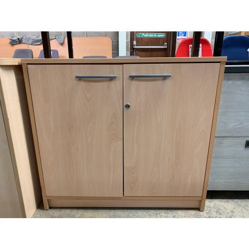 Double Door Cupboard, With 3 Shelves, In Beech Finish - 800mm Width x 600mm Depth x 730mm High. 1 In Stock