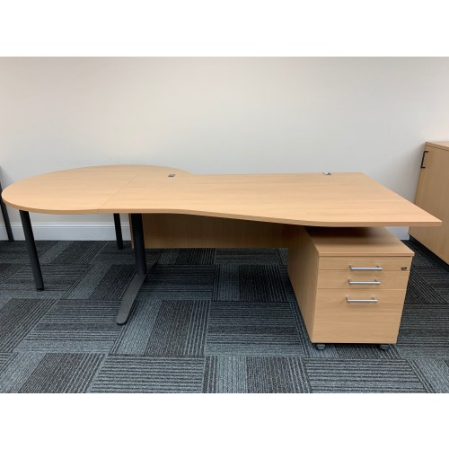 Wave Desk, Pedestal & Extension Table, In Oak Finish - 2360mm Width x 1000-800mm Depth. 1 In Stock