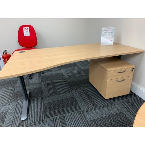 Wave Desk & Mobile Pedestal, In Verada Oak Finish. 1800mm Width x 1000-800mm Depth. 1 Left-Hand In Stock