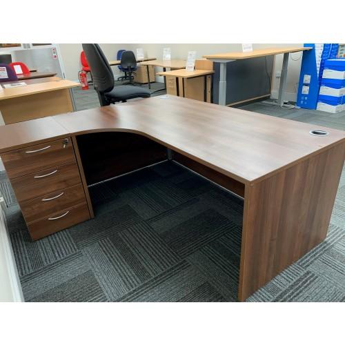 Crescent Desk & Desk High Pedestal, Left-Hand, In Walnut Finish. 1800mm Width x 1200mm Depth. 1 In Stock