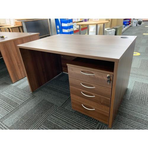 Rectangular Desk & Mobile Pedestal, In Walnut Finish. 1200mm Width x 800mm Depth. 1 In Stock