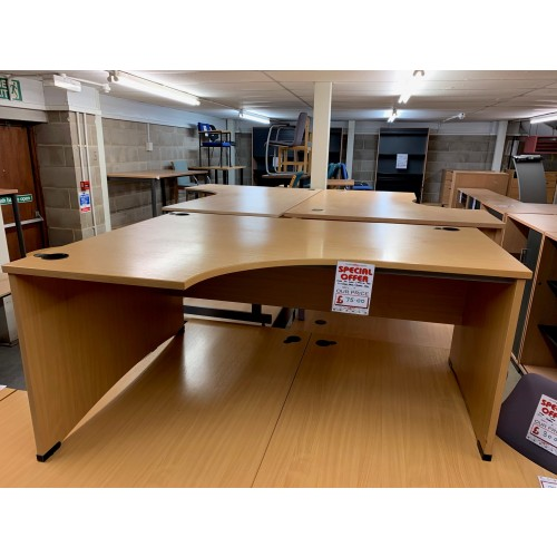 Crescent Desk, In Beech Finish - 1600mm Width x 1200mm Depth. 2 Left-Hands In Stock