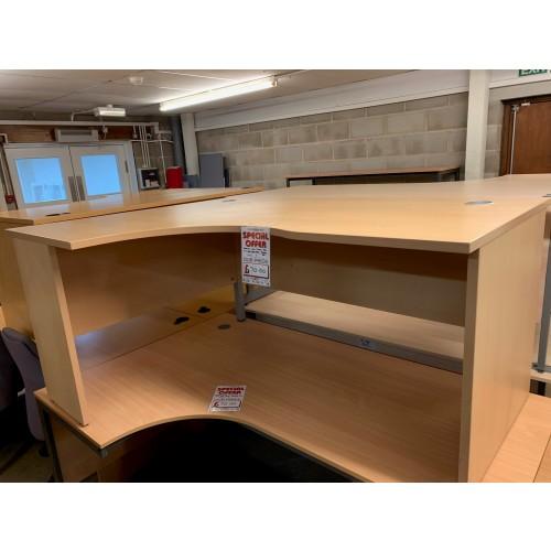Crescent Desk, In Light Beech Finish - 1600mm Width x 1200mm Depth. 1 In Stock