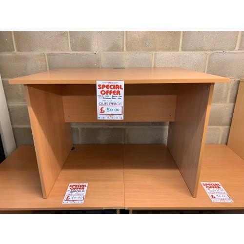 Rectangular Desk, In Beech Finish - 1000mm Width x 800mm Depth. 2 In Stock