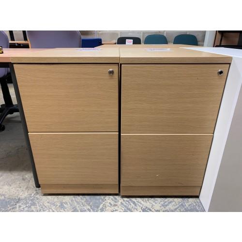 Filing Cabinet, 2 Drawer, In Oak Finish. 2 In Stock