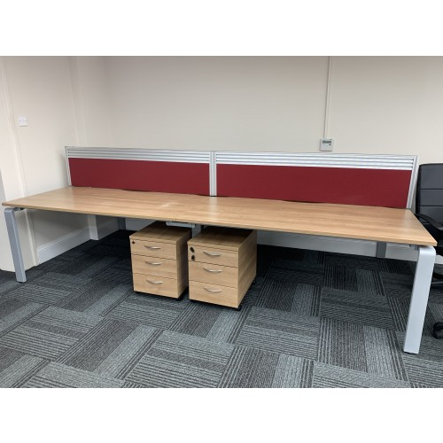 Set Of Four Back-To-Back Bench Desking (Birch Finish), 1600mm Width x 800mm Depth (Each Desk). Each With Lockable Mobile Pedestal & Burgundy Desk Top Screen. 3 Sets In Stock