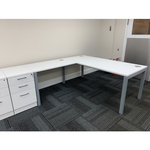 Workstation & Desk High Pedestal, In White Finish. 1800mm Width x 1800mm Depth.  1 Left & 1 Right-Hand In Stock