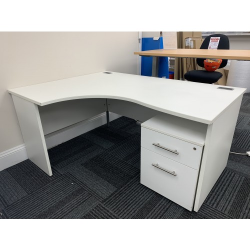 Crescent Desk & Mobile Pedestal, In White Finish. 1600mm Width x 1200mm Depth. 1 Left-Hand In Stock
